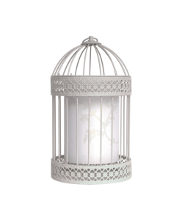Shabby Chic Birdcage Table Lamp In Stone