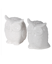 White ceramic owl salt and pepper pots